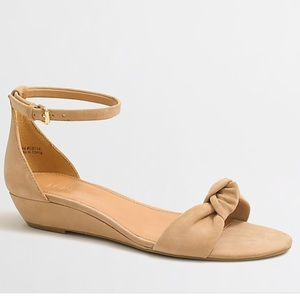 J. Crew Tan Demi Wedge Top Knot Sandals Size 7